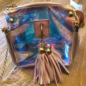 Handbags - Clear game day purse with pink trim & tassel